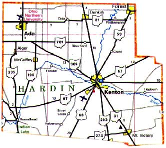 Map  of Hardin County